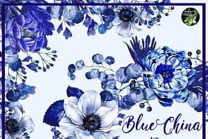 Blue China set 10 watercolor clipart