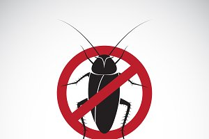 Vector of cockroach in red stop sign