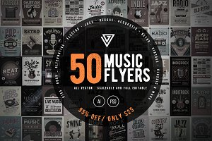 50 Music Flyers Bundle