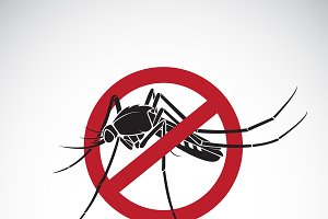Vector of mosquito in red stop sign.