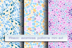 Mosaic seamless patterns mini-set