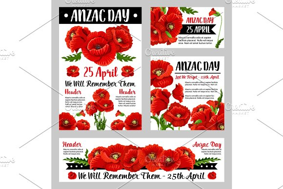 Anzac Day poppy flower for poster or card design