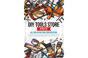 Vector sketch poster of home repair work tools