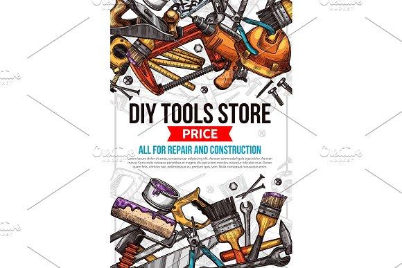 Vector sketch poster of home repair work tools