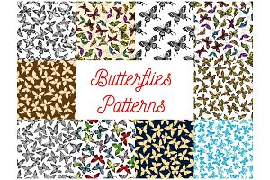 Butterfly and moth seamless pattern background