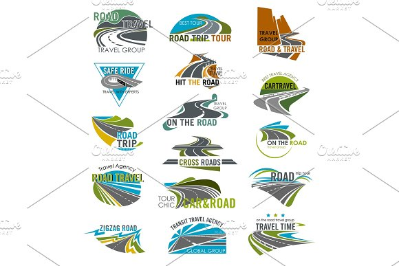 Travel or tourism agency vector road icons set