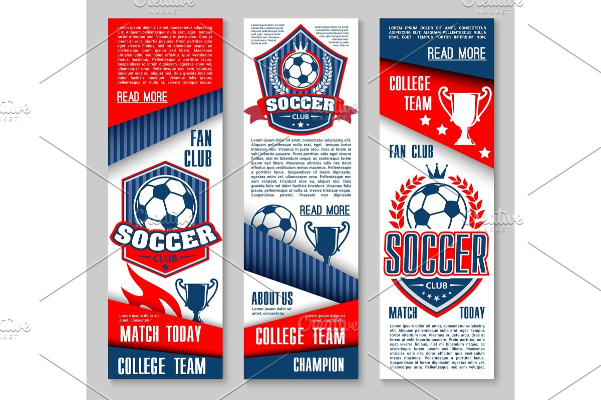 Vector banners for football or soccer sport club in Illustrations