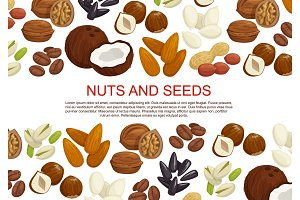 Vector nuts and fruit seeds sweets poster