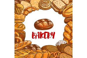 Bakery bread sketch vector poster