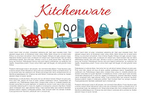 Vector poster of kitchenware and dishware items