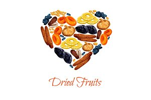 Vector heart poster of dried fruits snacks