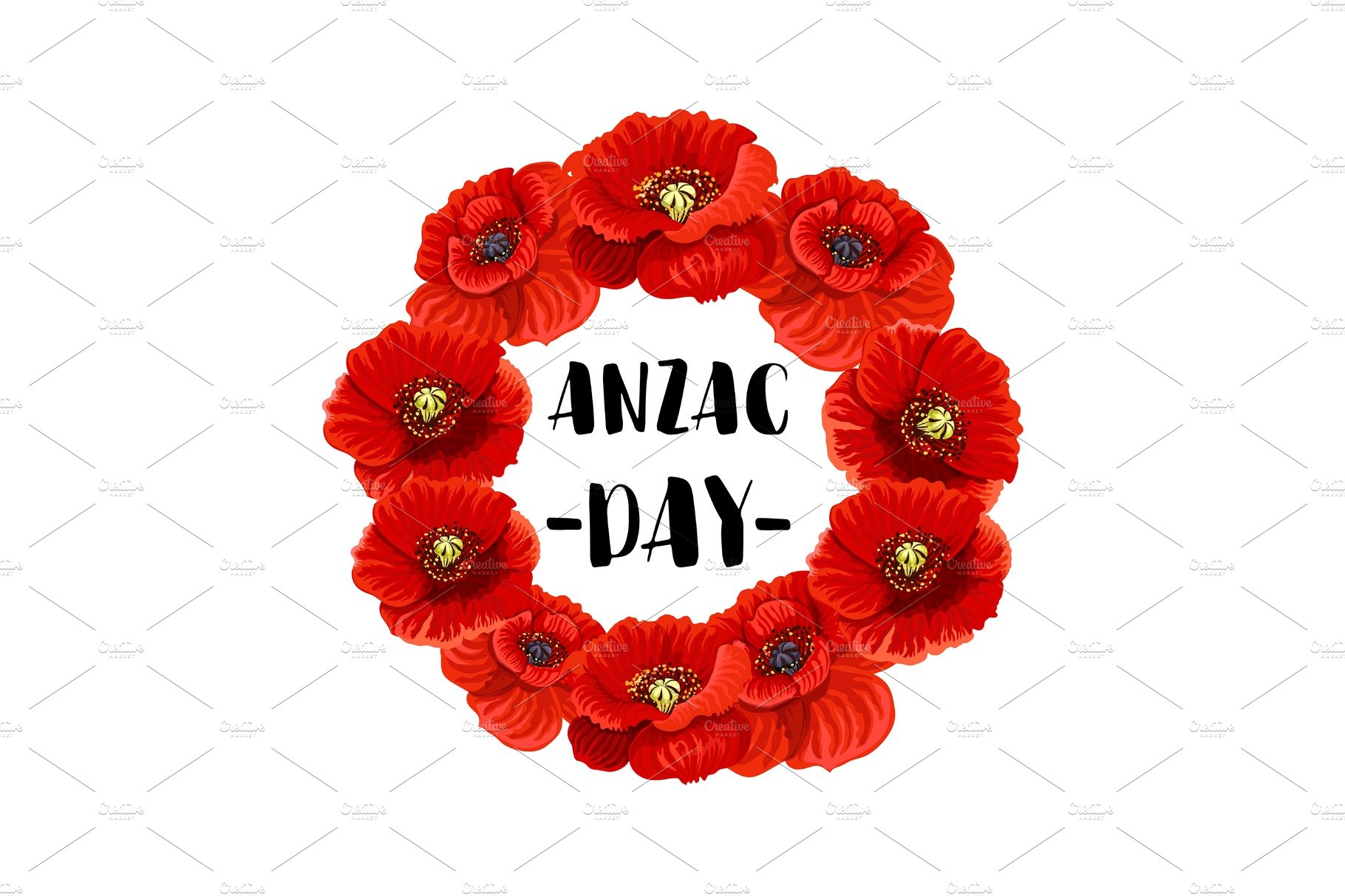 Anzac Day Memorial Wreath Icon Of Red Poppy Flower Illustrations