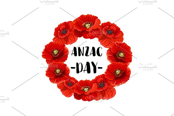 Anzac day memorial wreath icon of red poppy flower illustrations anzac day memorial wreath icon of red poppy flower illustrations mightylinksfo
