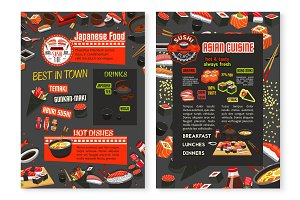 Vector Japanese cuisine Asian food menu poster