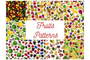 Fresh fruit and berry seamless pattern background