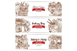 Cakes sketch banner for bakery and pastry design