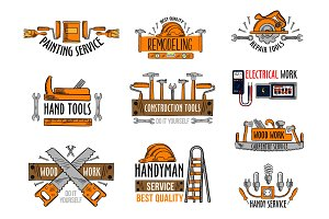 Vector icons house construction repair work tools