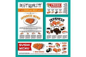 Japanese restaurant sushi menu vector templates