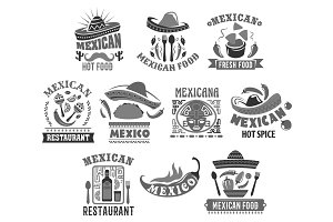 Mexican cuisine vector icons for restaurant