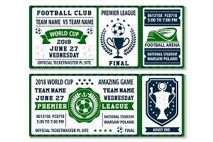 Vector tickets for football soccer championship