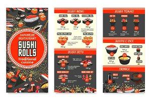Vector Japanese cuisine Asian food menu design