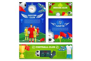 Vector posters for soccer club football game