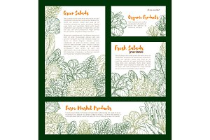 Vector fresh farm salad vegetables sketch poster