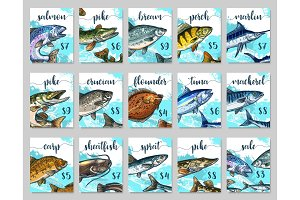 Vector price cards sketch set for fish shop market