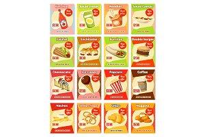 Vector fast food street food snacks cards menu