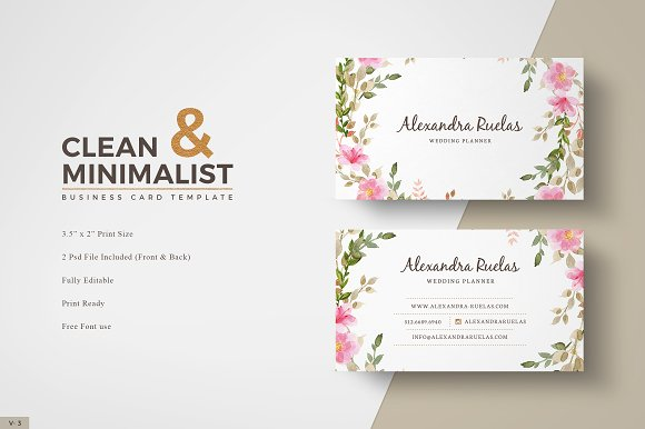 Floral business card business card templates creative market accmission Choice Image
