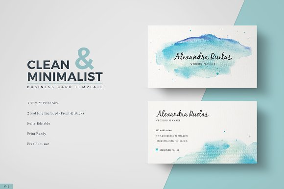 watercolor business card business card templates creative market