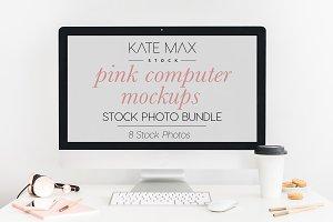 Pink Computer Mockups Stock Bundle