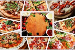 Collage with different types of pizz