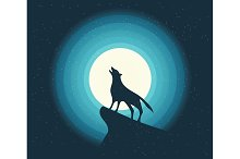 Wolf Howling in the Moonligh