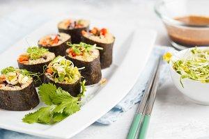 Vegan sushi rolls with quinoa