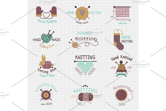 Knitting needles logo vector wool knitwear or knitted woolen socks logotype crocheting woolly materials and handknitting illustration isolated on white background in Textures