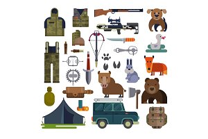 Hunt vector hunting ammunition or hunters equipment rifle shooting and backpack in camping with animals duck bear, boar and huntingdog set illustration isolated on white background