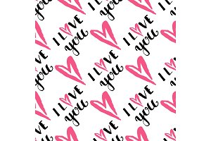 I love you text heart sharp vector seamless pattern background pink color card beautiful celebrate bright emoticon symbol holiday abstract art decoration.
