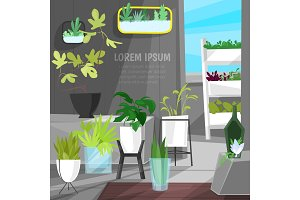 Plants in flowerpots vector potted houseplants indoor botanic cactuses aloe for house interior decoration with floral collection of botanical garden illustration isolated on white background