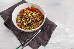 Vegetarian padthai soba noodles