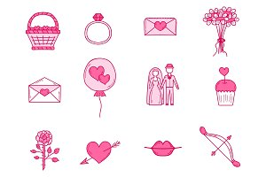 Wedding outline married engagement groom bride icons vector illustration.