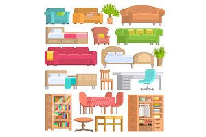Furniture vector furnishings design of bedroom with bedding on bed in furnished interior of apartment and furnishing room with sofa armchair or chair set illustration isolated on white background