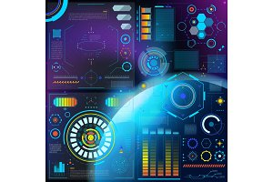 Interface vector hud dashboard futuristic interfaced spacepanel with interfacing hologram technology on digital bar interfacial screen on spaceship illustration set