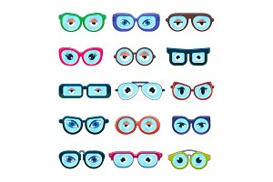 Glasses with eyes vector cartoon eyeglass frame or sunglasses in shapes and accessories for hipsters fashion optical framing spectacles eyesight view set illustration isolated on white background