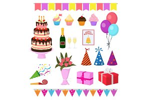 Birthday party vector anniversary cartoon kids happy birth cake or cupcake celebration with gifts and birthday balloons for children or adults set illustration isolated on white background