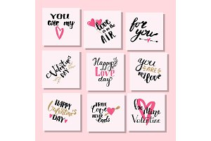 Vector I love You text cards hand drawn valentine lettering inspirational lover quote illustration.