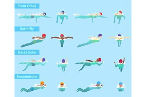Swimming vector swimmer sportsman swims in swimsuit and swimmingcap in swimmingpool different styles front crawl butterfly or backstroke and breaststroke underwater illustration isolated on background