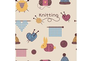 Knitting needles pattern seamless vector wool knitwear background or knitted woolen socks logo crocheting woolly materials backdrop and handknitting illustration wallpaper