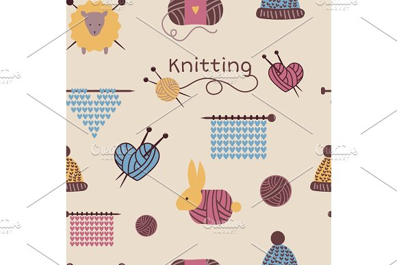 Knitting needles pattern seamless vector wool knitwear background or knitted woolen socks logo crocheting woolly materials backdrop and handknitting illustration wallpaper in Textures