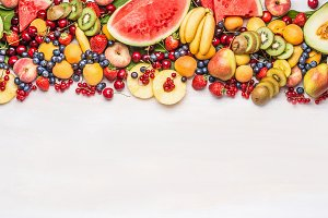 Colorful organic fruits and berries